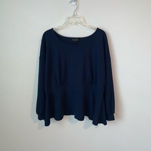 Eloquii top navy size 22 peplum hem long sleeve